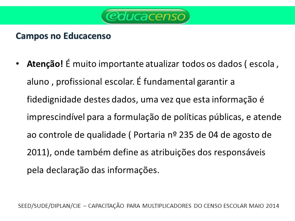 Campos no Educacenso