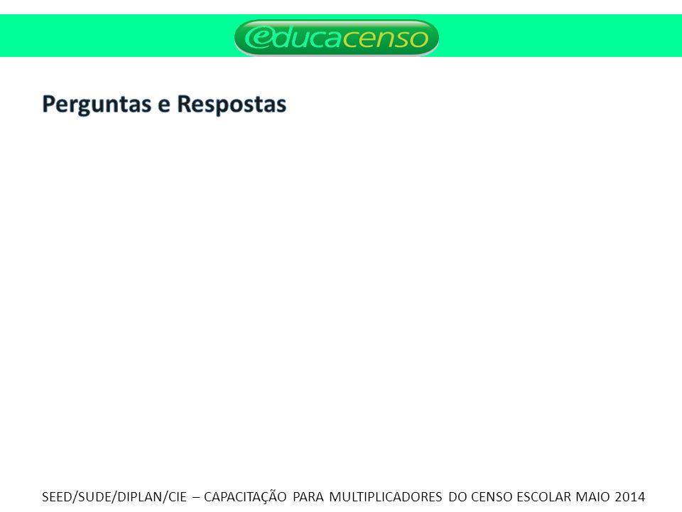 Perguntas e Respostas SEED/SUDE/DIPLAN/CIE – CAPACITAÇÃO PARA MULTIPLICADORES DO CENSO ESCOLAR MAIO 2014.