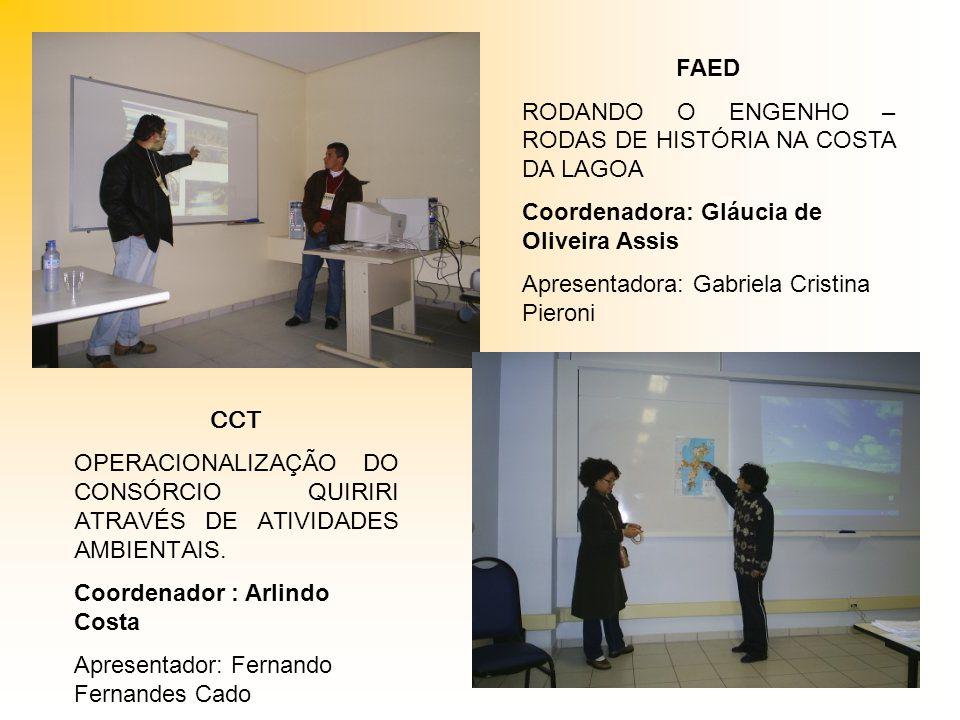 FAED RODANDO O ENGENHO – RODAS DE HISTÓRIA NA COSTA DA LAGOA. Coordenadora: Gláucia de Oliveira Assis.