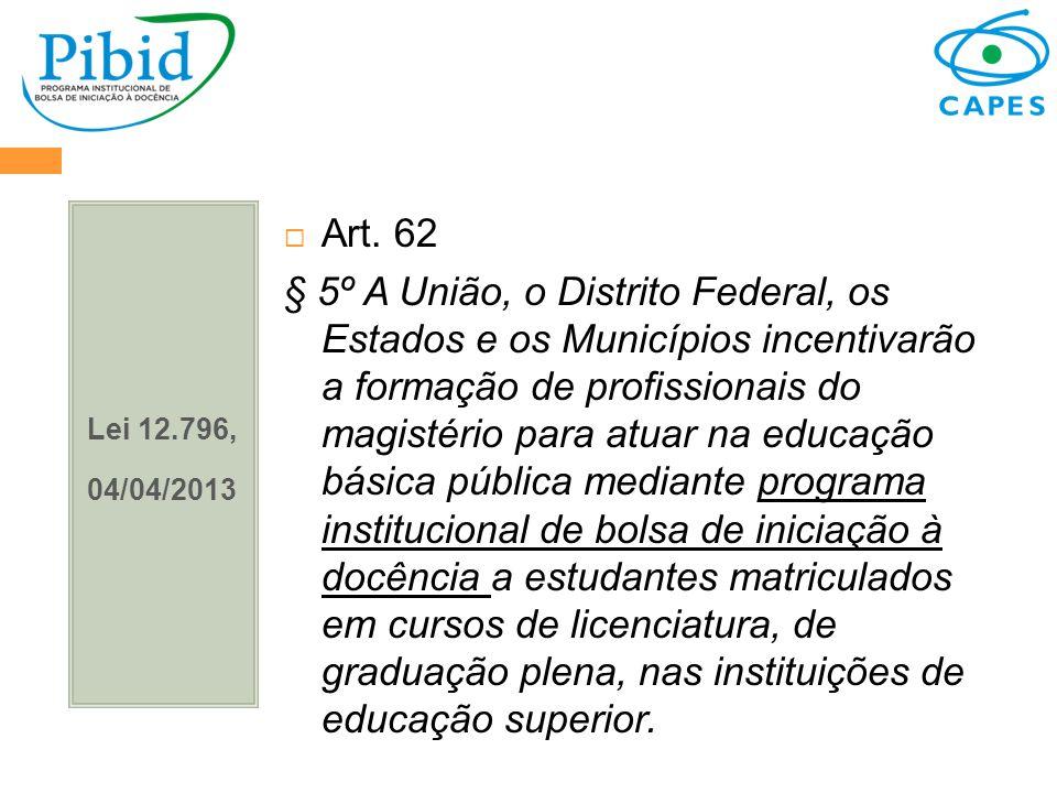 Lei 12.796, 04/04/2013. Art. 62.