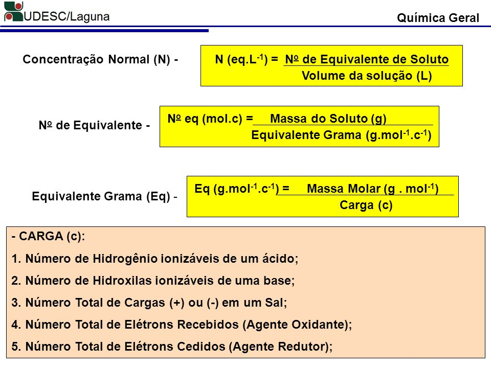 N (eq.L-1) = No de Equivalente de Soluto Volume da solução (L)