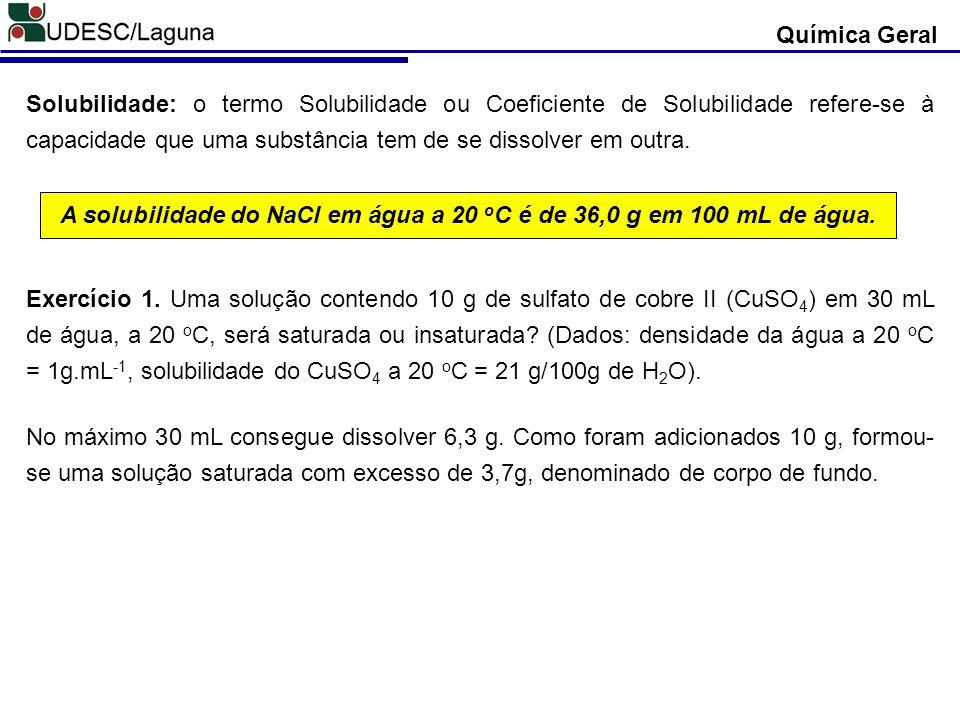 A solubilidade do NaCl em água a 20 oC é de 36,0 g em 100 mL de água.