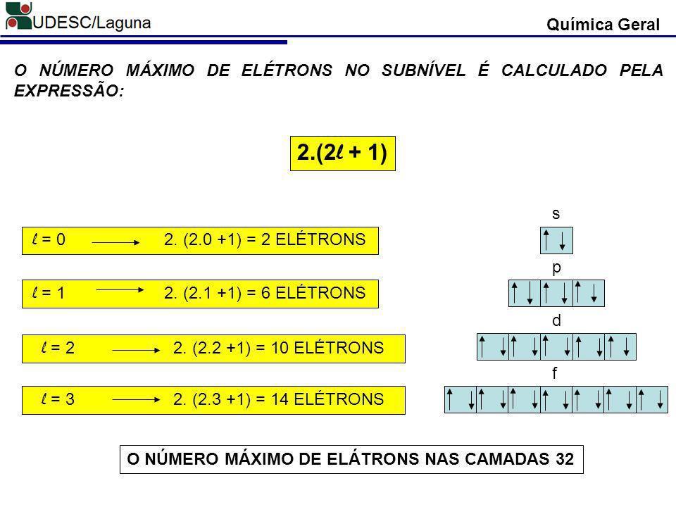 Química Geral O NÚMERO MÁXIMO DE ELÉTRONS NO SUBNÍVEL É CALCULADO PELA EXPRESSÃO: 2.(2l + 1) s. l = 0 2. (2.0 +1) = 2 ELÉTRONS.