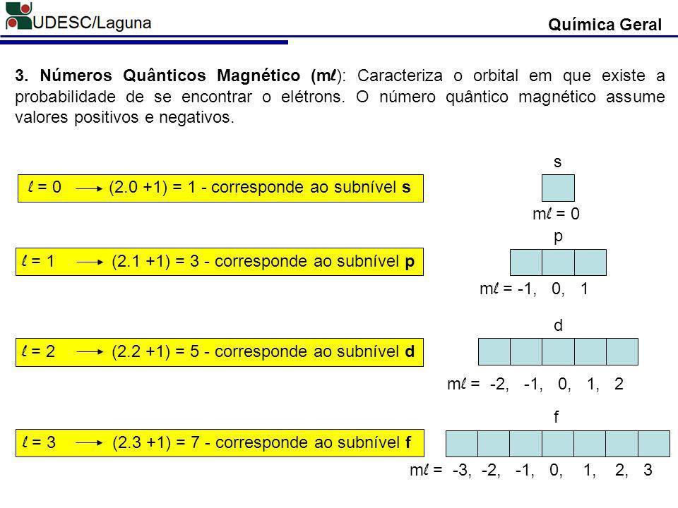 l = 0 (2.0 +1) = 1 - corresponde ao subnível s