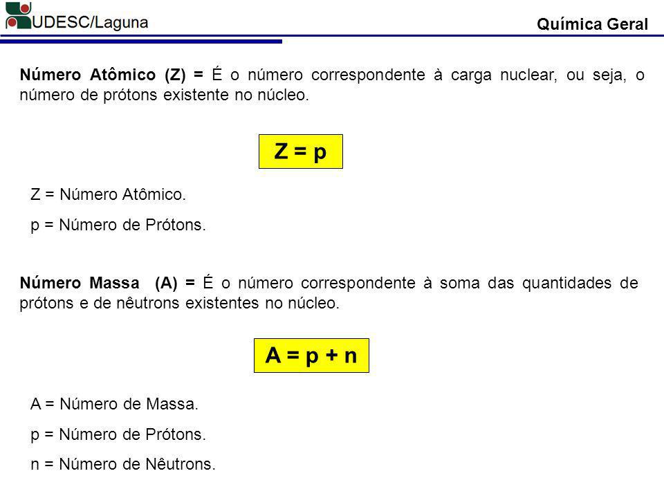 Z = p A = p + n Química Geral