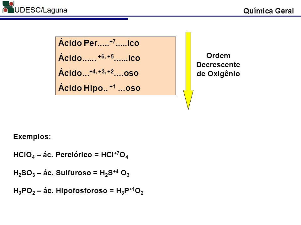 Ordem Decrescente de Oxigênio