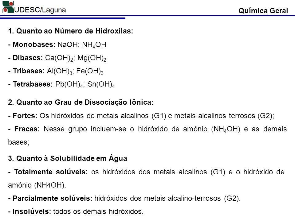 Química Geral 1. Quanto ao Número de Hidroxilas: - Monobases: NaOH; NH4OH. - Dibases: Ca(OH)2; Mg(OH)2.