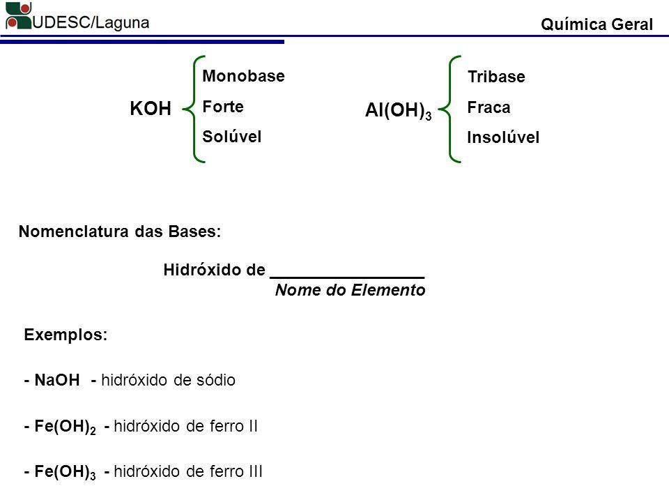 KOH Al(OH)3 Química Geral Monobase Tribase Forte Fraca Solúvel