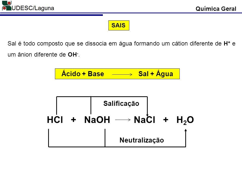 HCl + NaOH NaCl + H2O Ácido + Base Sal + Água Salificação