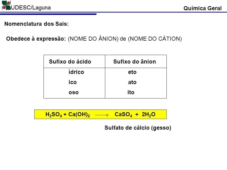 Química Geral Nomenclatura dos Sais: Obedece à expressão: (NOME DO ÂNION) de (NOME DO CÁTION) Sufixo do ácido Sufixo do ânion.