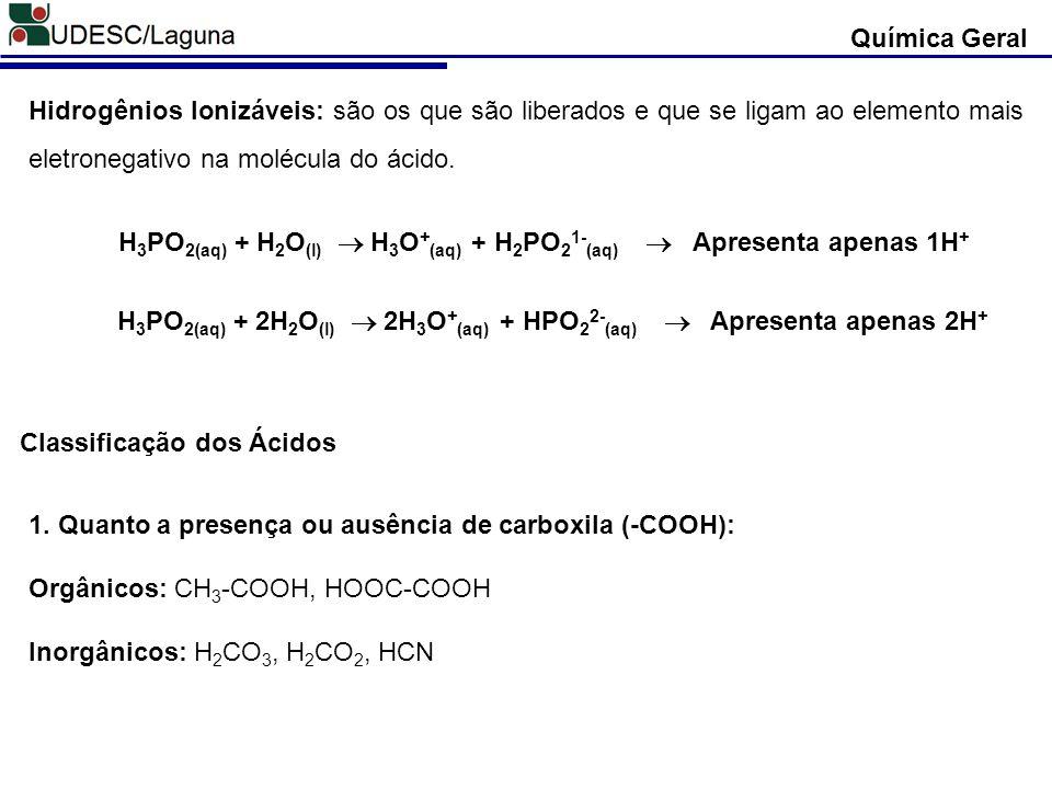 H3PO2(aq) + H2O(l) ® H3O+(aq) + H2PO21-(aq)  Apresenta apenas 1H+