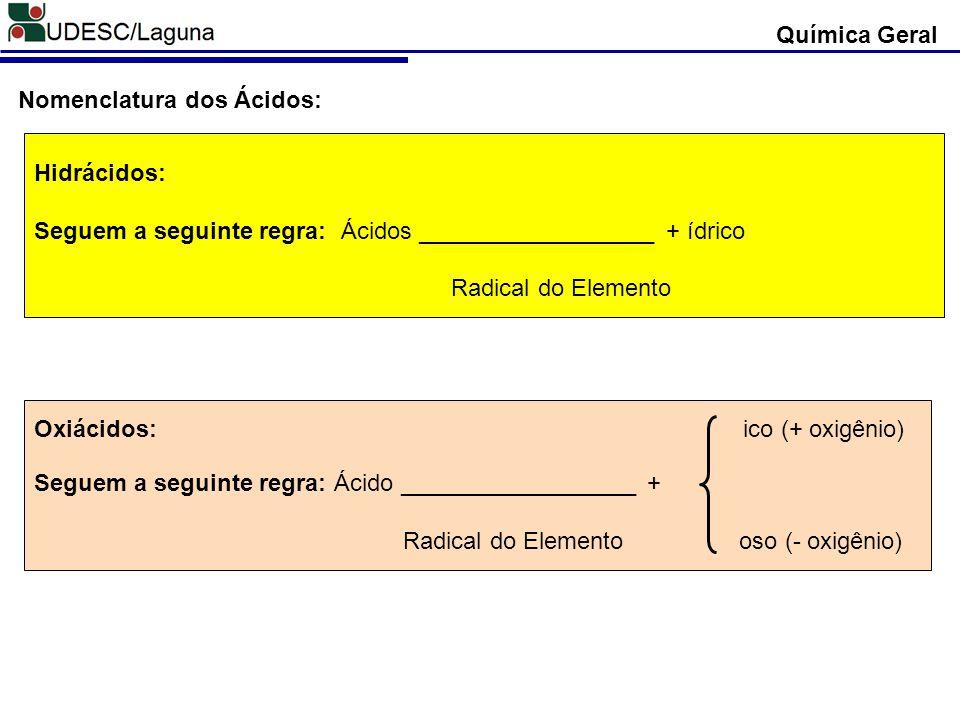 Química Geral Nomenclatura dos Ácidos: Hidrácidos: