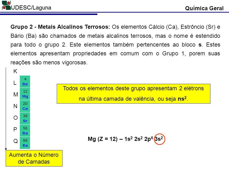 Todos os elementos deste grupo apresentam 2 elétrons