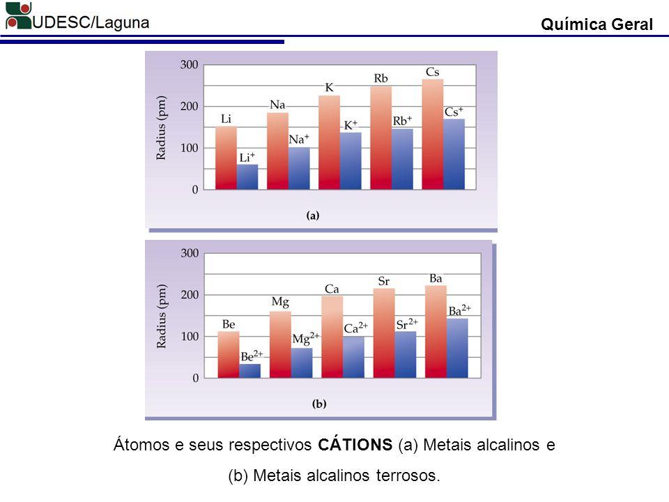 Átomos e seus respectivos CÁTIONS (a) Metais alcalinos e