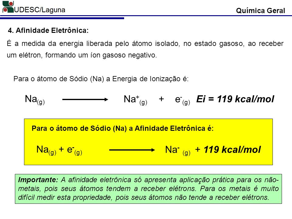 Na+(g) + e-(g) Ei = 119 kcal/mol