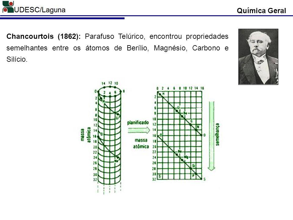 Química Geral Chancourtois (1862): Parafuso Telúrico, encontrou propriedades semelhantes entre os átomos de Berílio, Magnésio, Carbono e Silício.