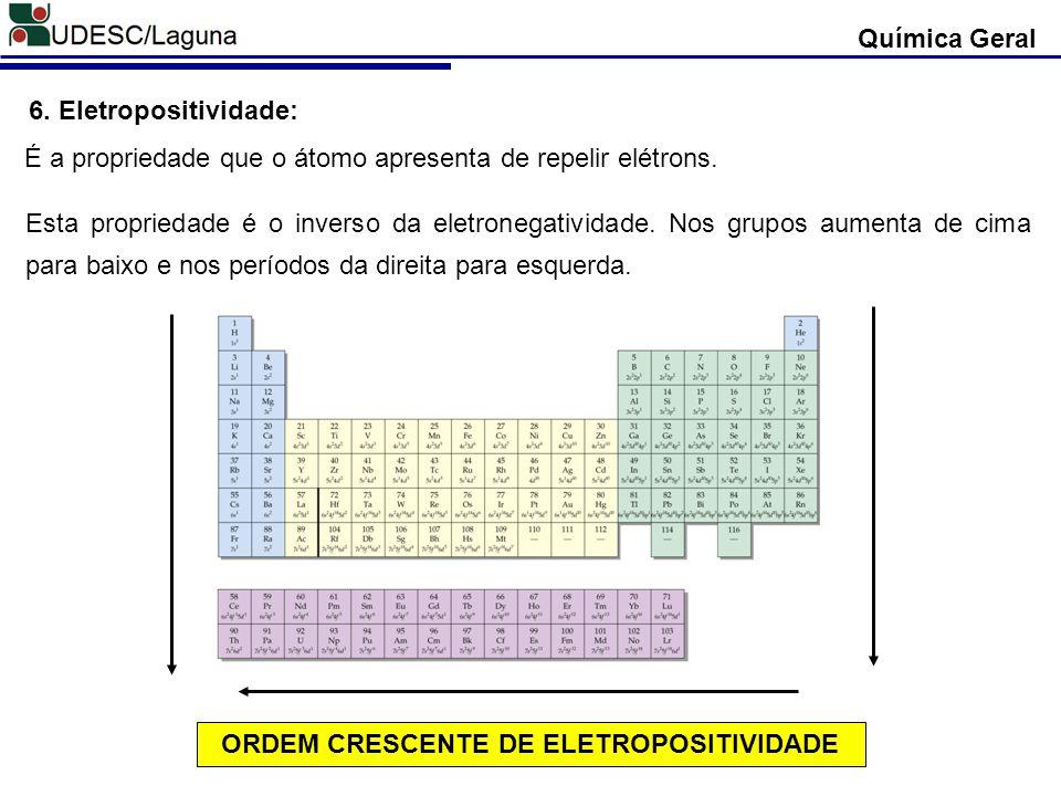 ORDEM CRESCENTE DE ELETROPOSITIVIDADE