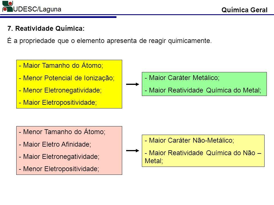 Química Geral 7. Reatividade Química: É a propriedade que o elemento apresenta de reagir quimicamente.