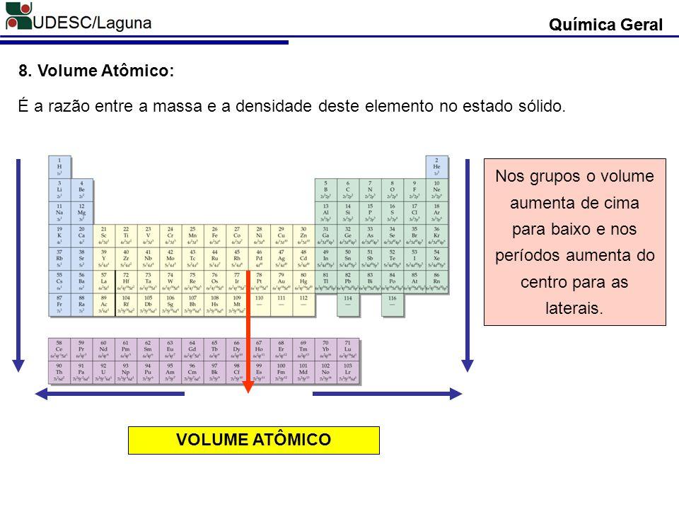 Química Geral Química Geral. 8. Volume Atômico: É a razão entre a massa e a densidade deste elemento no estado sólido.