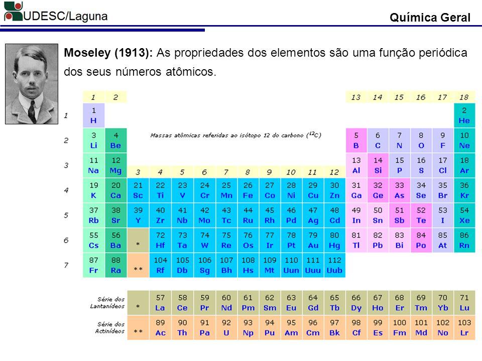 Química Geral Moseley (1913): As propriedades dos elementos são uma função periódica dos seus números atômicos.