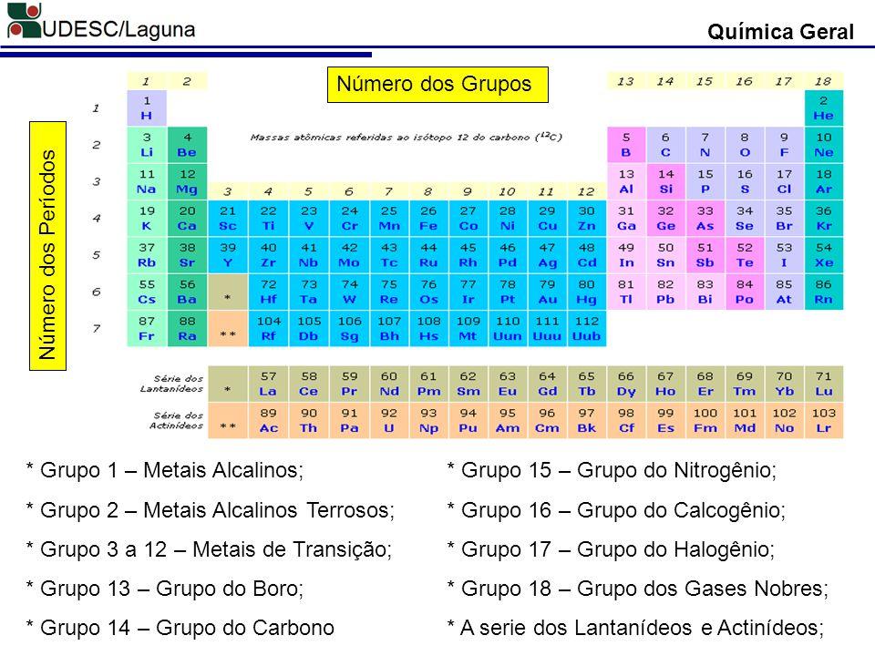 Química Geral Número dos Grupos. Número dos Períodos. * Grupo 1 – Metais Alcalinos; * Grupo 2 – Metais Alcalinos Terrosos;