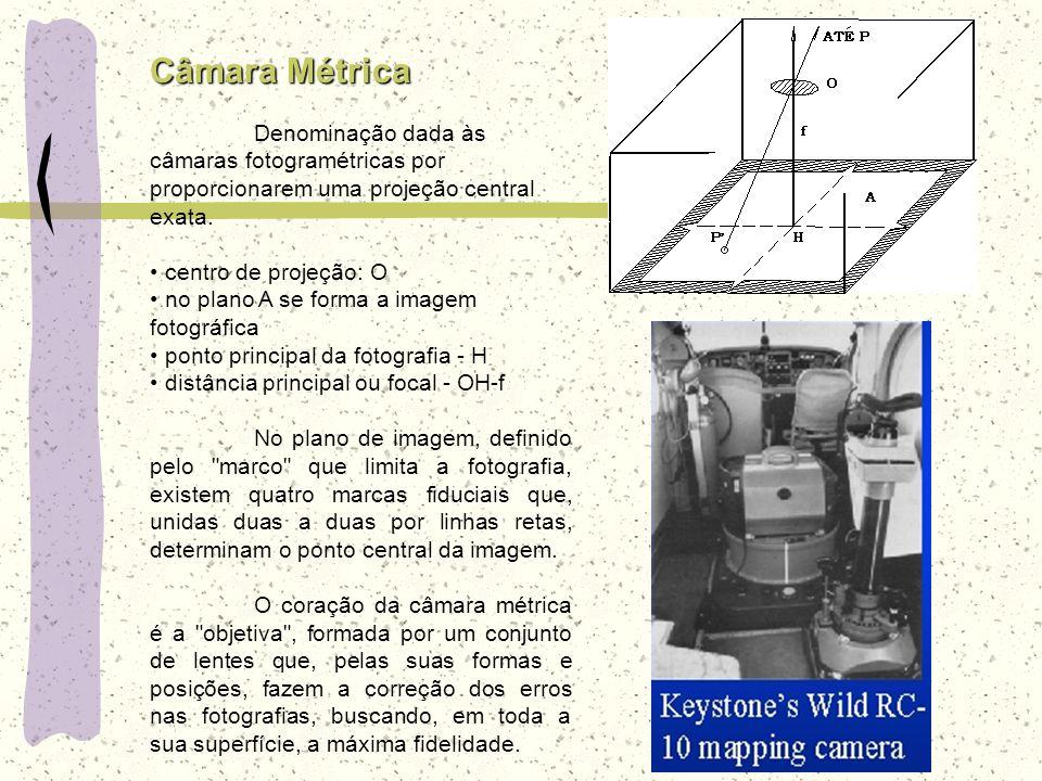 Câmara Métrica Denominação dada às câmaras fotogramétricas por proporcionarem uma projeção central exata.