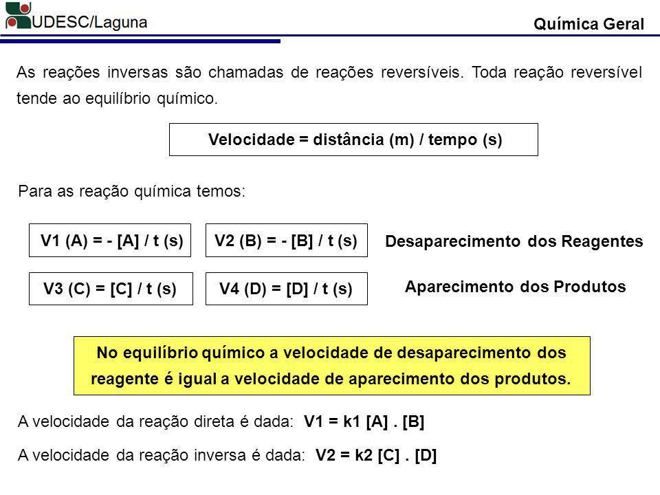 Velocidade = distância (m) / tempo (s)
