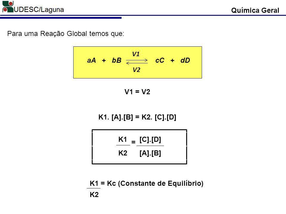Química Geral Para uma Reação Global temos que: aA + bB cC + dD. V1. V2.