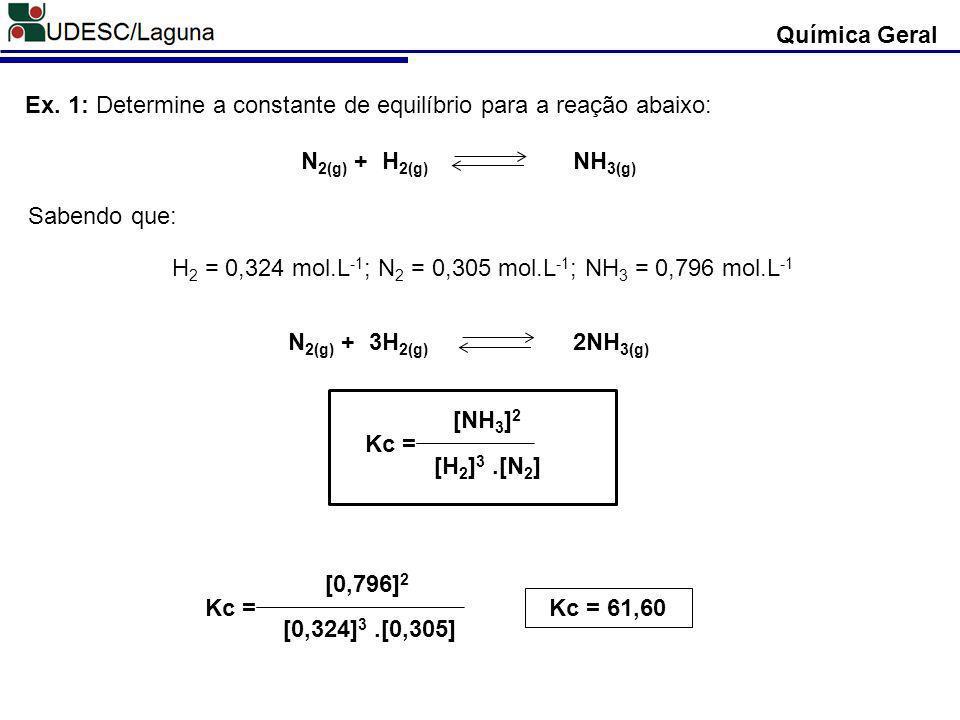 H2 = 0,324 mol.L-1; N2 = 0,305 mol.L-1; NH3 = 0,796 mol.L-1