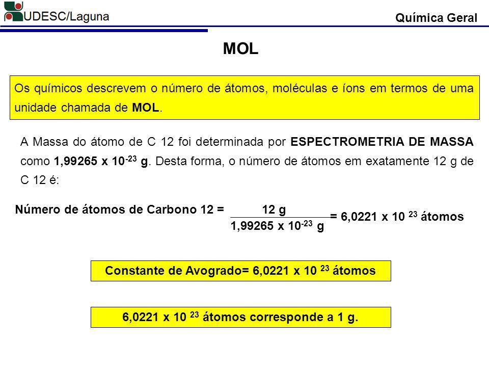 Química Geral MOL. Os químicos descrevem o número de átomos, moléculas e íons em termos de uma unidade chamada de MOL.
