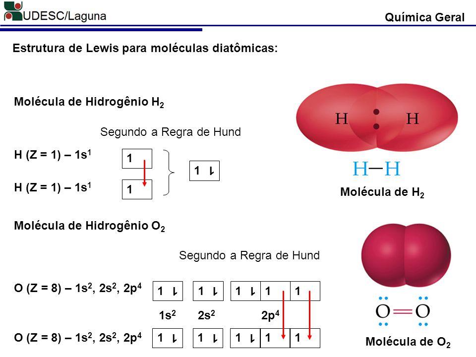 Química Geral Estrutura de Lewis para moléculas diatômicas: Molécula de H2. Molécula de Hidrogênio H2.