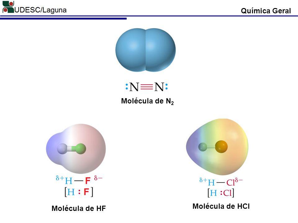 Química Geral Molécula de N2 Molécula de HCl Molécula de HF