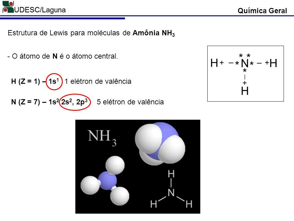 Química Geral Estrutura de Lewis para moléculas de Amônia NH3. N. H. * + _. * * - O átomo de N é o átomo central.