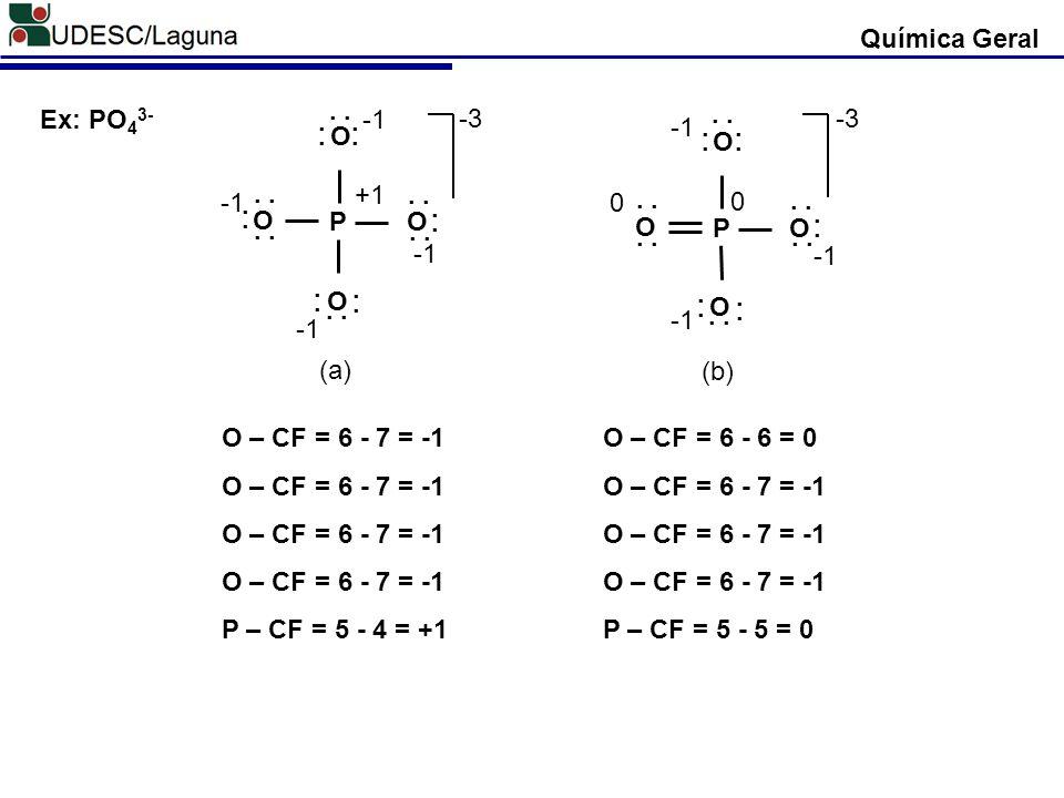 Química Geral P. O. . . -3. -1. +1. (a) Ex: PO43- P. O. . . -3. -1. (b) O – CF = 6 - 7 = -1.