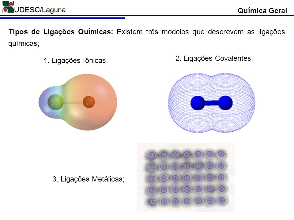 Química Geral Tipos de Ligações Químicas: Existem três modelos que descrevem as ligações químicas; 2. Ligações Covalentes;