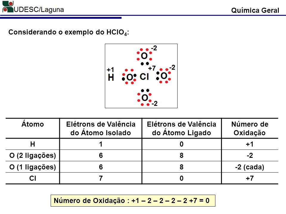 Considerando o exemplo do HClO4: