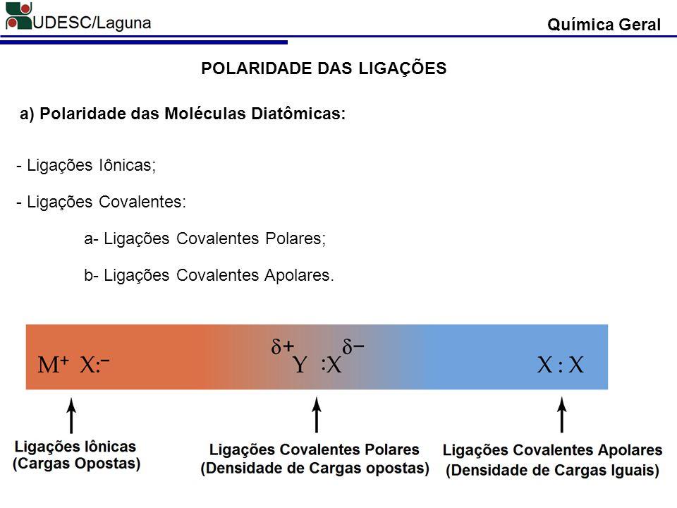Química Geral POLARIDADE DAS LIGAÇÕES. a) Polaridade das Moléculas Diatômicas: - Ligações Iônicas;