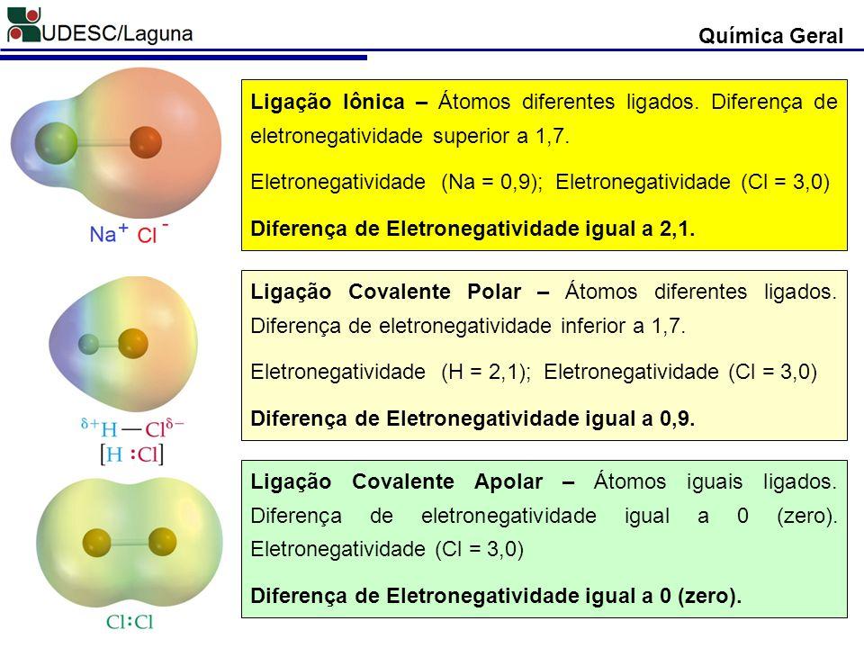 Química Geral Ligação Iônica – Átomos diferentes ligados. Diferença de eletronegatividade superior a 1,7.