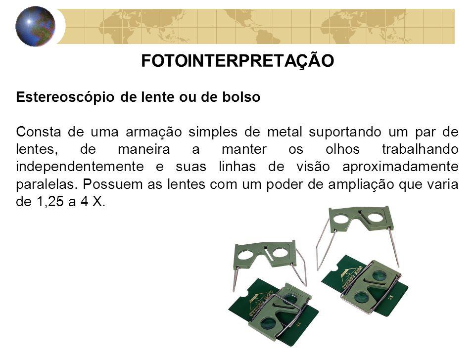 FOTOINTERPRETAÇÃO Estereoscópio de lente ou de bolso