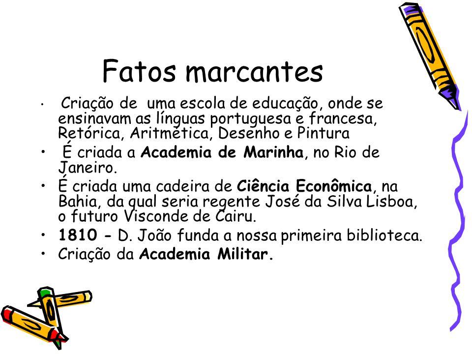 Fatos marcantes É criada a Academia de Marinha, no Rio de Janeiro.