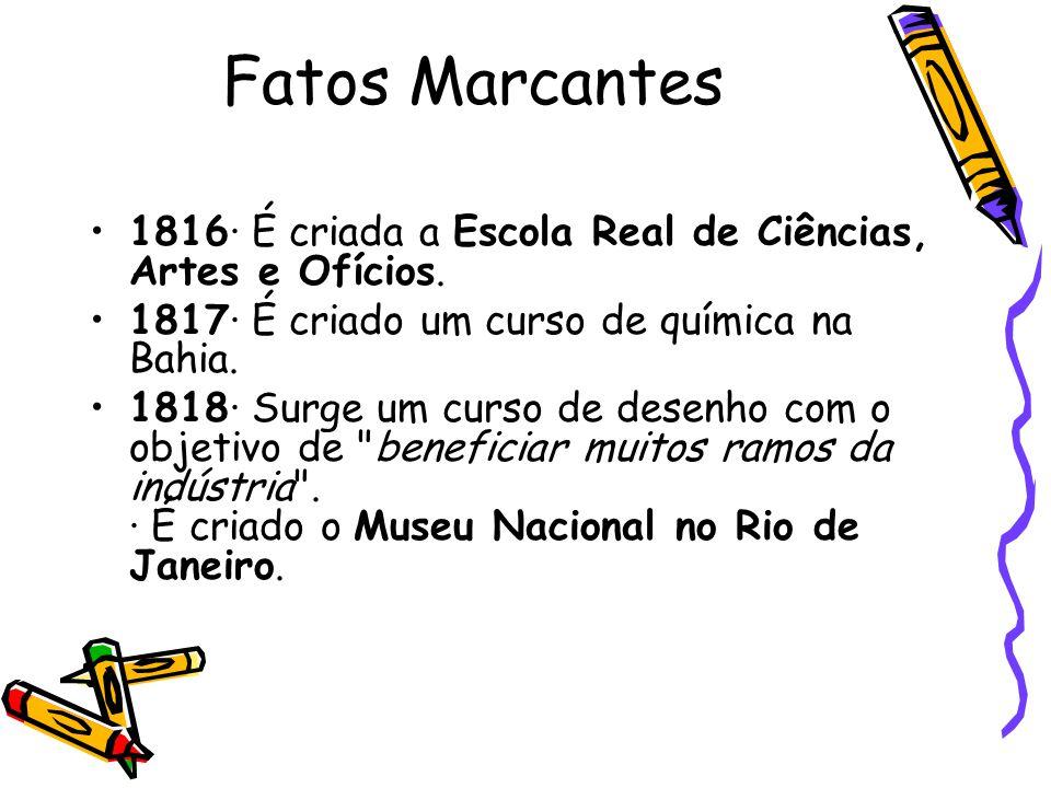 Fatos Marcantes 1816· É criada a Escola Real de Ciências, Artes e Ofícios. 1817· É criado um curso de química na Bahia.