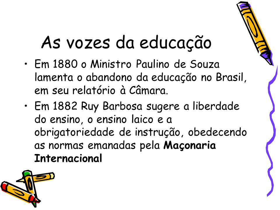 As vozes da educação Em 1880 o Ministro Paulino de Souza lamenta o abandono da educação no Brasil, em seu relatório à Câmara.