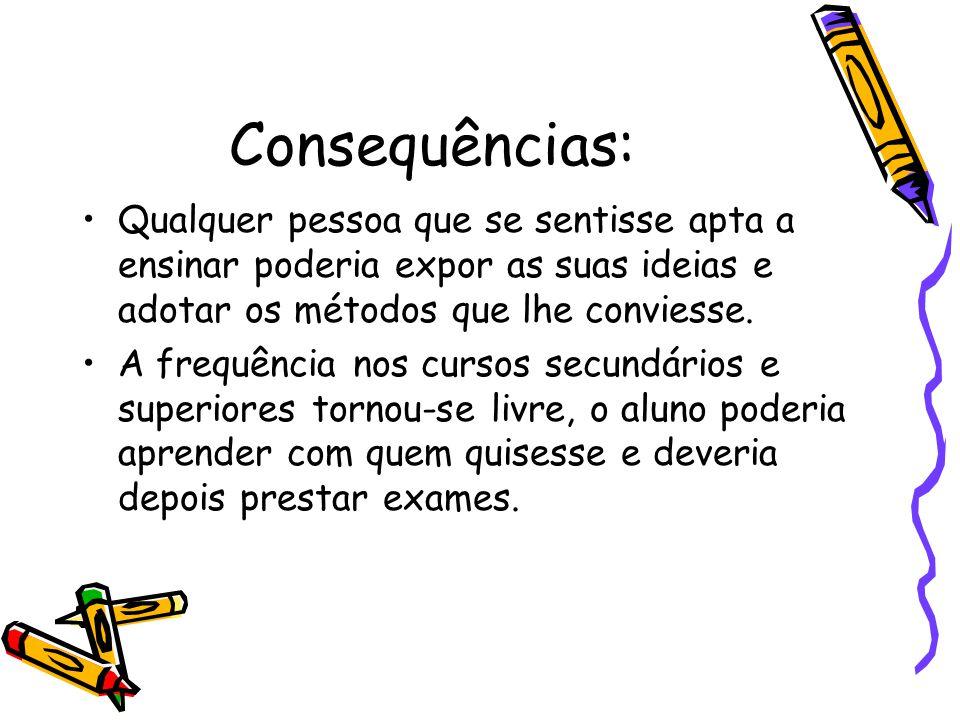 Consequências: Qualquer pessoa que se sentisse apta a ensinar poderia expor as suas ideias e adotar os métodos que lhe conviesse.
