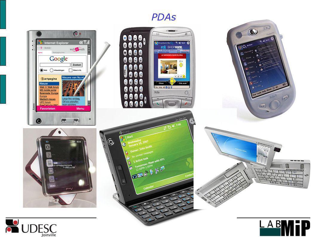 PDAs Desktop = estático, conectado por cabos de alimentação e para acesso à rede.