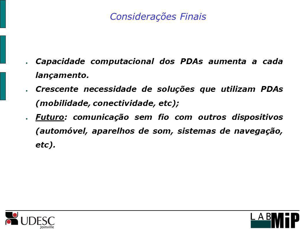 Considerações Finais Capacidade computacional dos PDAs aumenta a cada lançamento.