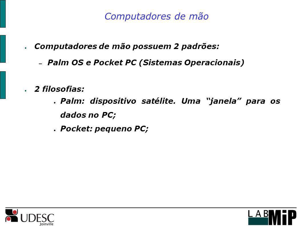 Computadores de mão Computadores de mão possuem 2 padrões: