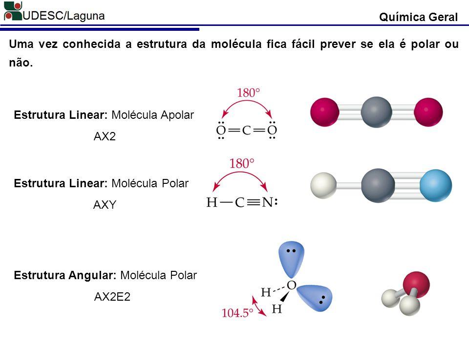 Química Geral Uma vez conhecida a estrutura da molécula fica fácil prever se ela é polar ou não. Estrutura Linear: Molécula Apolar.