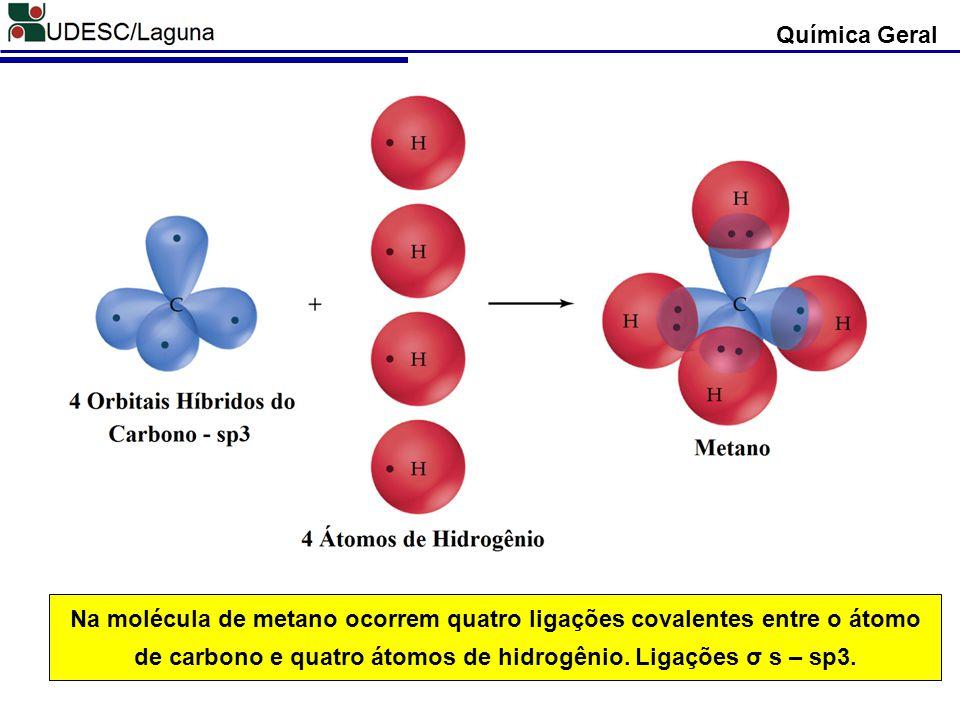 Química Geral Na molécula de metano ocorrem quatro ligações covalentes entre o átomo de carbono e quatro átomos de hidrogênio.