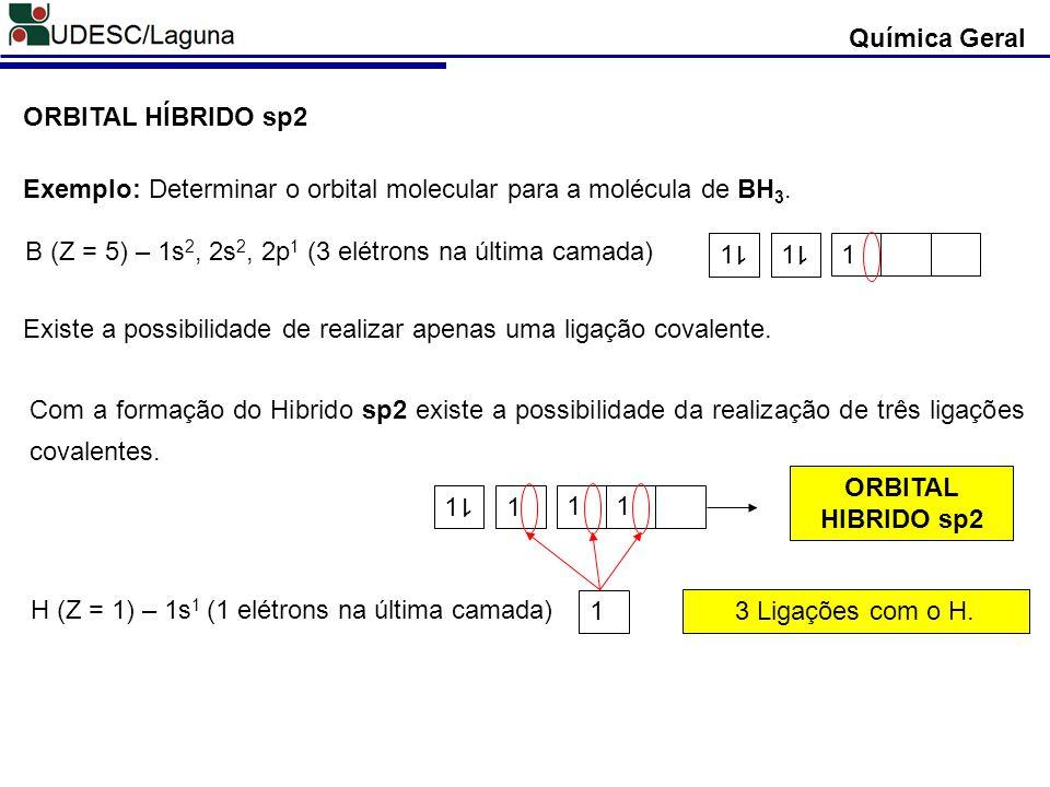 Química Geral ORBITAL HÍBRIDO sp2. Exemplo: Determinar o orbital molecular para a molécula de BH3.
