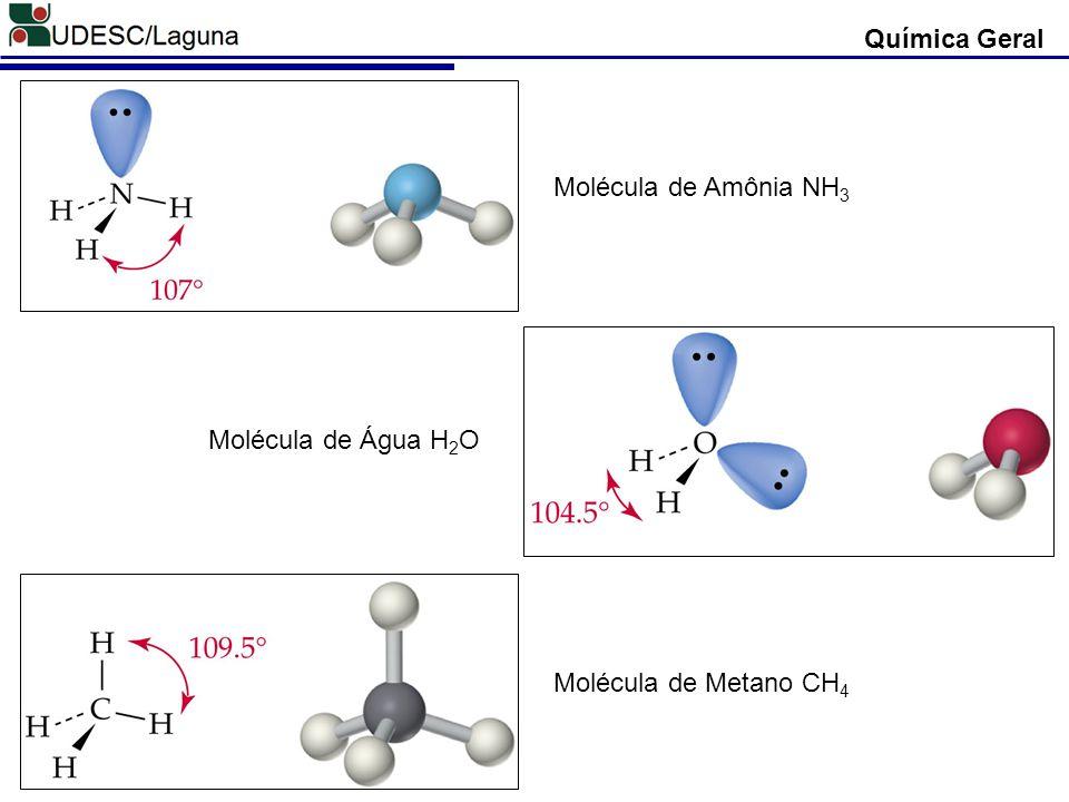 Química Geral Molécula de Amônia NH3 Molécula de Água H2O Molécula de Metano CH4